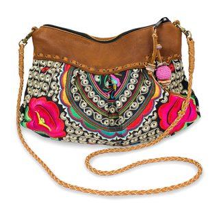 Leather Accented Shoulder Bag , 'Red Mandarin Garden' (Thailand)