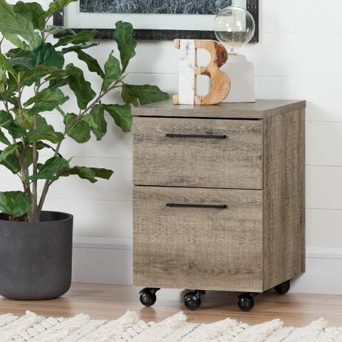 South Shore Munich 2-Drawer Mobile File Cabinet, Weathered Oak