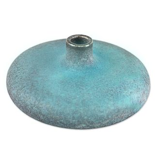 Ceramic Bud Vase, 'Turquoise Cascade' (Thailand)