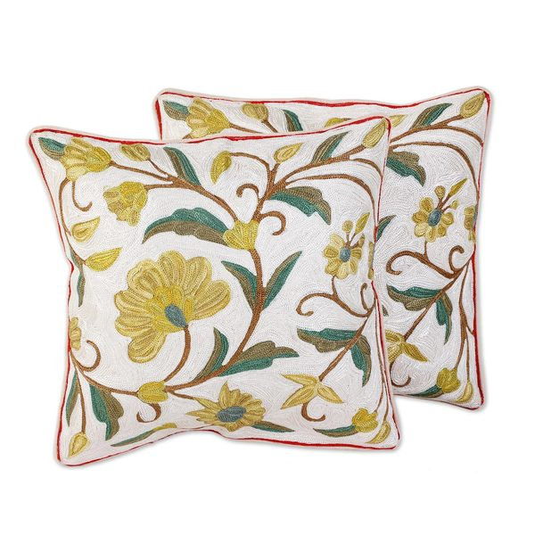 Cotton Cushion Covers, 'Sunny Indian Peony' (Pair) (India)