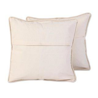 Handmade Cotton Cushion Covers Sunny Indian Peony (Pair) (India)