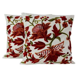 Cotton Cushion Covers, 'Marsala Garden' (Pair) (India)