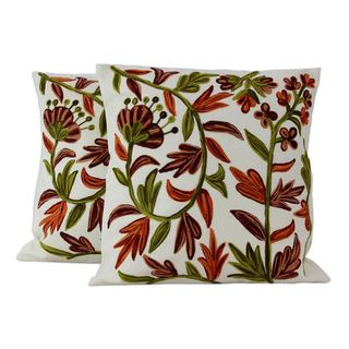 Cotton Cushion Covers, 'Bronze Blossoms' (Pair) (India)