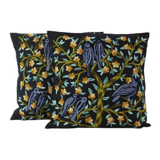 Cotton Cushion Covers, 'Birds In the Night' (Pair) (India)