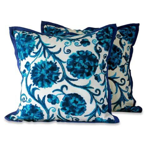 Embroidered Cushion Covers, 'Blue Dahlias'