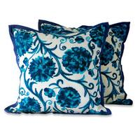 Embroidered Cushion Covers, 'Blue Dahlias' (Pair) (India)
