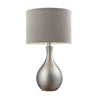 Dimond Lighting Grey Ceramic and Metal 21.5-inch Hammered Chrome-plated Table Lamp