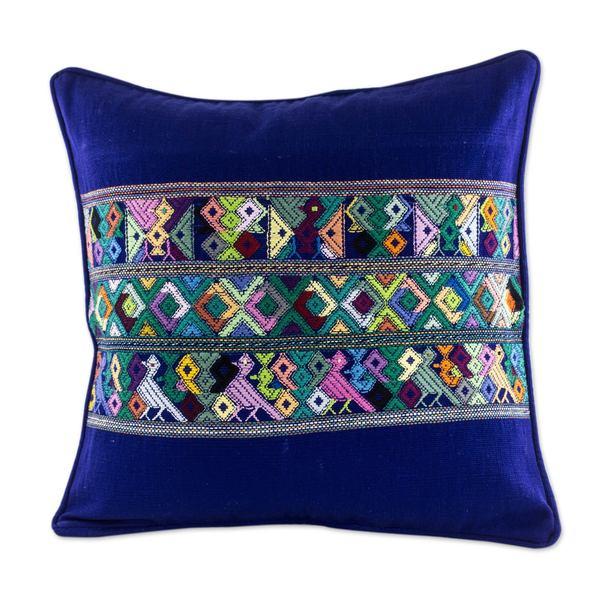 Cotton Cushion Cover, 'Quiche Birds' (Guatemala)