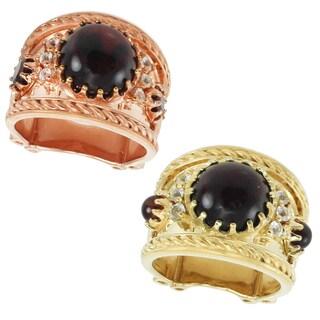 Dallas Prince Palladium Silver Garnet & White Sapphire Ring