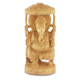 Wood Sculpture, 'Blessed Ganesha Ii' (India)