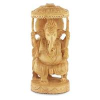 Wood Sculpture, 'Blessed Ganesha Ii' (India)