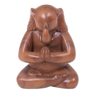Wood Statuette, 'Praying Elephant' (Indonesia)