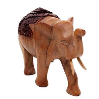 Wood Statuette, 'Elephant On Parade' (Indonesia)