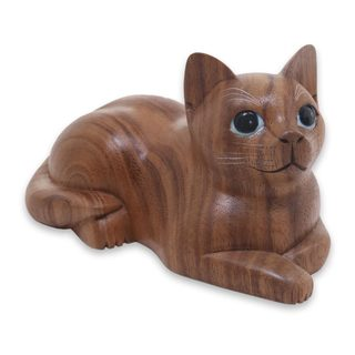 Wood Sculpture, 'Short Haired Cat' (Indonesia)