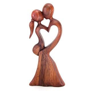 Handmade Love's Kiss Wood Sculpture (Indonesia)