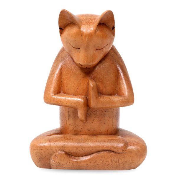 Wood Sculpture, 'Full Lotus Cat' (Indonesia)