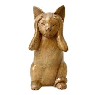 Wood Sculpture, 'Hear No Evil Cat' (Indonesia)