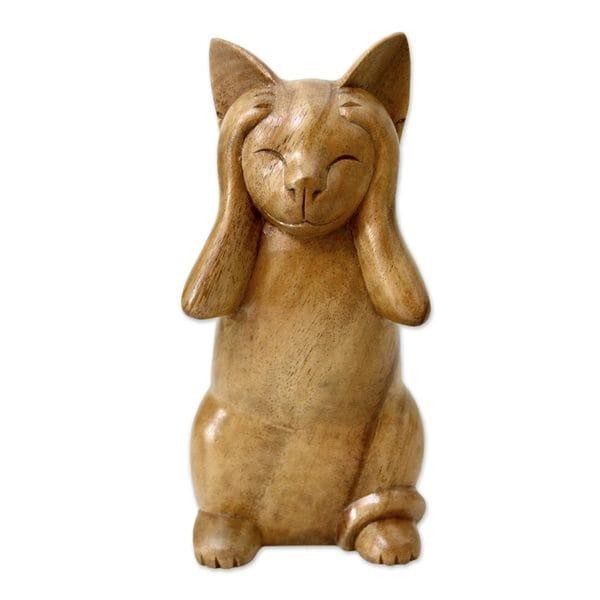 Wood Sculpture, 'Hear No Evil Cat' (Indonesia)