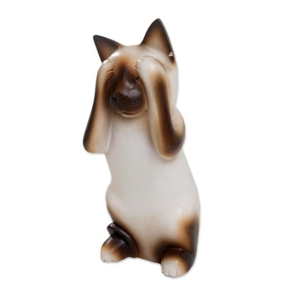 Wood Sculpture, 'See No Evil Siamese Cat' (Indonesia)