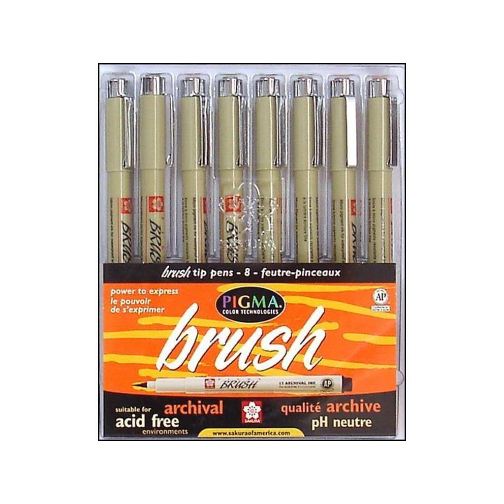 Sakura Pigma Brush Pen Set 8pc Astd (Pens), Multi