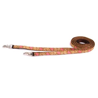 Red Haute Horse Leather Rose Pink on Brown Nylon Reins (English Or Western)
