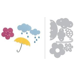 Sizzix Doodlebug Thinlits Die Cloud Flower Rain and? Umbrella Die-cut Shapes