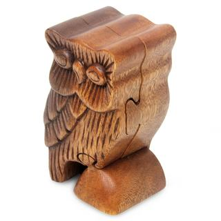 Wood Puzzle Box, 'The Owl'S Secret' (Indonesia)