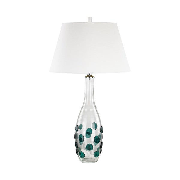 Dimond Lighting Confiserie Green Glass Medallions White Shade Table Lamp