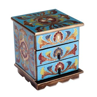 Reverse Painted Glass Decorative Chest, 'Joyous Enchantment In Blue' (Peru)