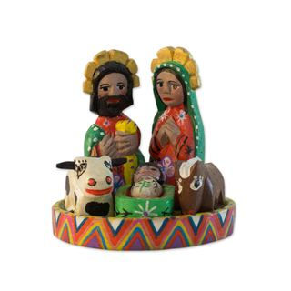 Wood Nativity Scene, 'Petite Christmas' (Set of 7) (Guatemala)