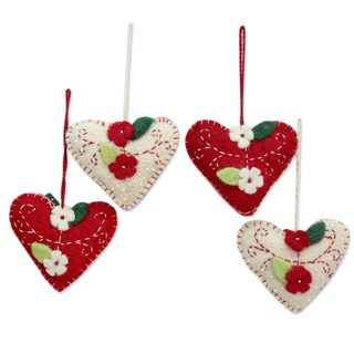 Wool Felt Ornaments, 'Joyful Hearts' (Set of 4) (India)