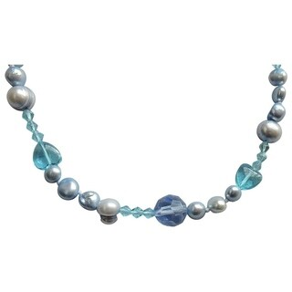 Blue Pearl Mix Open Style Necklace - 52""