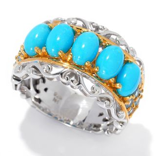 Michael Valitutti Palladium Silver Sleeping Beauty Turquoise & Swiss Blue Topaz Five-Stone Band Ring