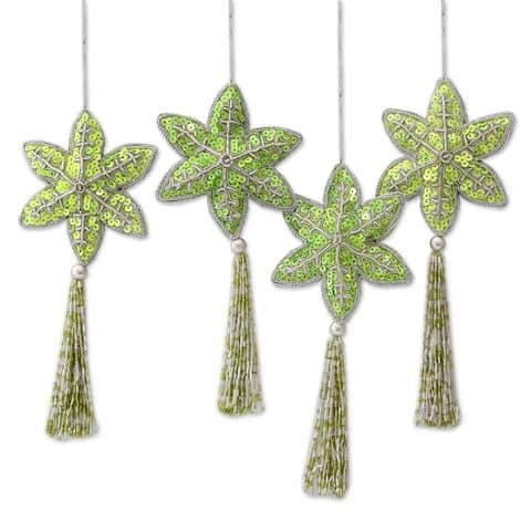 Handmade Holiday Message Beaded Ornaments, Set of 4 (India)