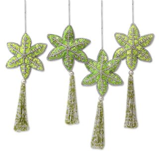 Beaded Ornaments, 'Holiday Message' (Set of 4) (India)