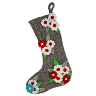 Wool Christmas Stocking, 'Festive Daisies' (India)