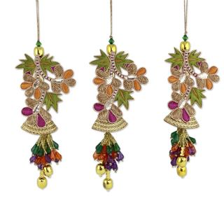 Beaded Ornaments, 'Bells and Mistletoe' (Set of 3) (India)