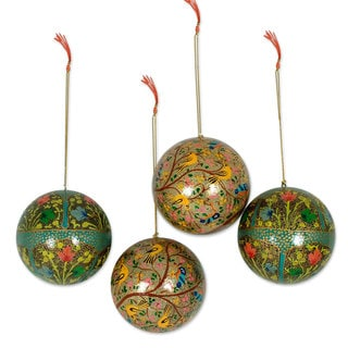 Ornaments, 'Turquoise Garden Fantasy' (Set of 4) (India)