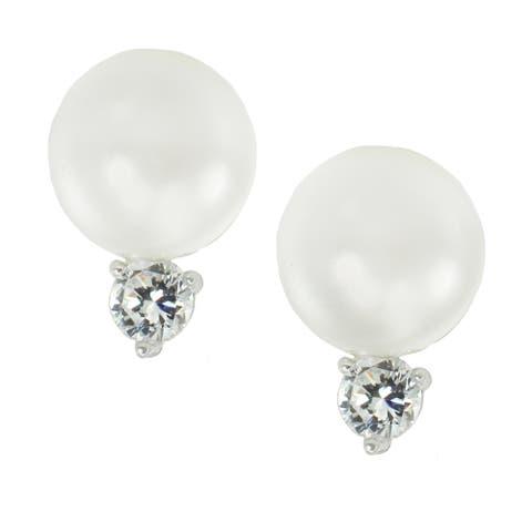 Gems en Vogue Sterling Silver Freshwater Pearl & Cubic Zirconia French Back Earrings
