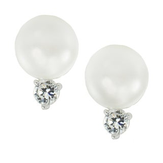 Michael Valitutti Sterling Silver Freshwater Pearl & Cubic Zirconia French Back Earrings