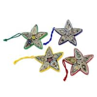 Recycled Paper Ornaments, 'Stars of Joy' (Set of 4) (Guatemala)