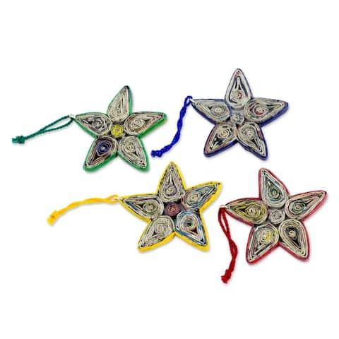 Handmade Stars of Joy Paper Ornament, Set of 4 (Guatemala)