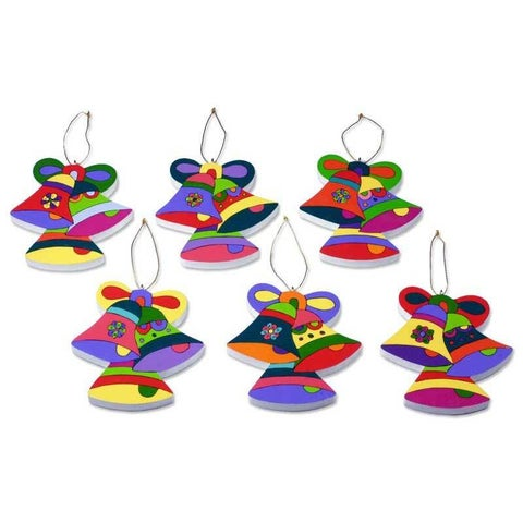 Pinewood Ornaments, 'Christmas Bells' (Set of 6) (El Salvador)