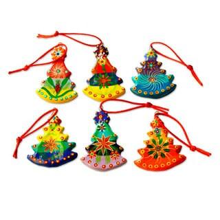 Ceramic Ornaments, 'Christmas Tree' (Set of 6) (Guatemala)