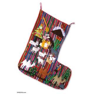Applique Christmas Stocking, 'Guiding Star' (Peru)