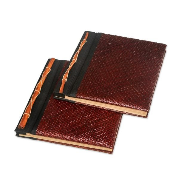Natural Fiber Photo Albums, 'Eco-Friendly Brown' (Large, Pair) (Indonesia)