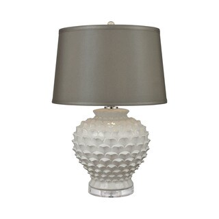 Dimond Lighting Place Dauphine Ceramic/Crystal/Fabric White Glaze Table Lamp