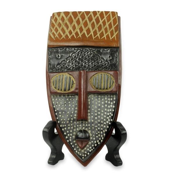 African Beaded Wood Mask, 'Elavanyo' (Ghana) - Brown/Black