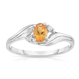 Noray Designs 14K White Gold Oval Gemstone & Diamond (0.03 Ct, G-H Color, SI2-I1 Clarity) Ring (More options available)