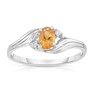 Noray Designs 14K White Gold Oval Gemstone & Diamond (0.03 Ct, G-H Color, SI2-I1 Clarity) Ring